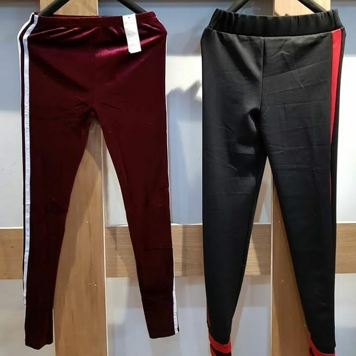 Celana Stripe Bludru Legging Fesyen Wanita Pakaian Wanita Di Carousell