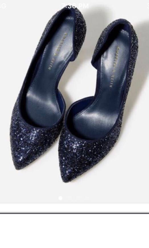 Charles and Keith glitter shoes heels in navy blue a3ec58cbcf