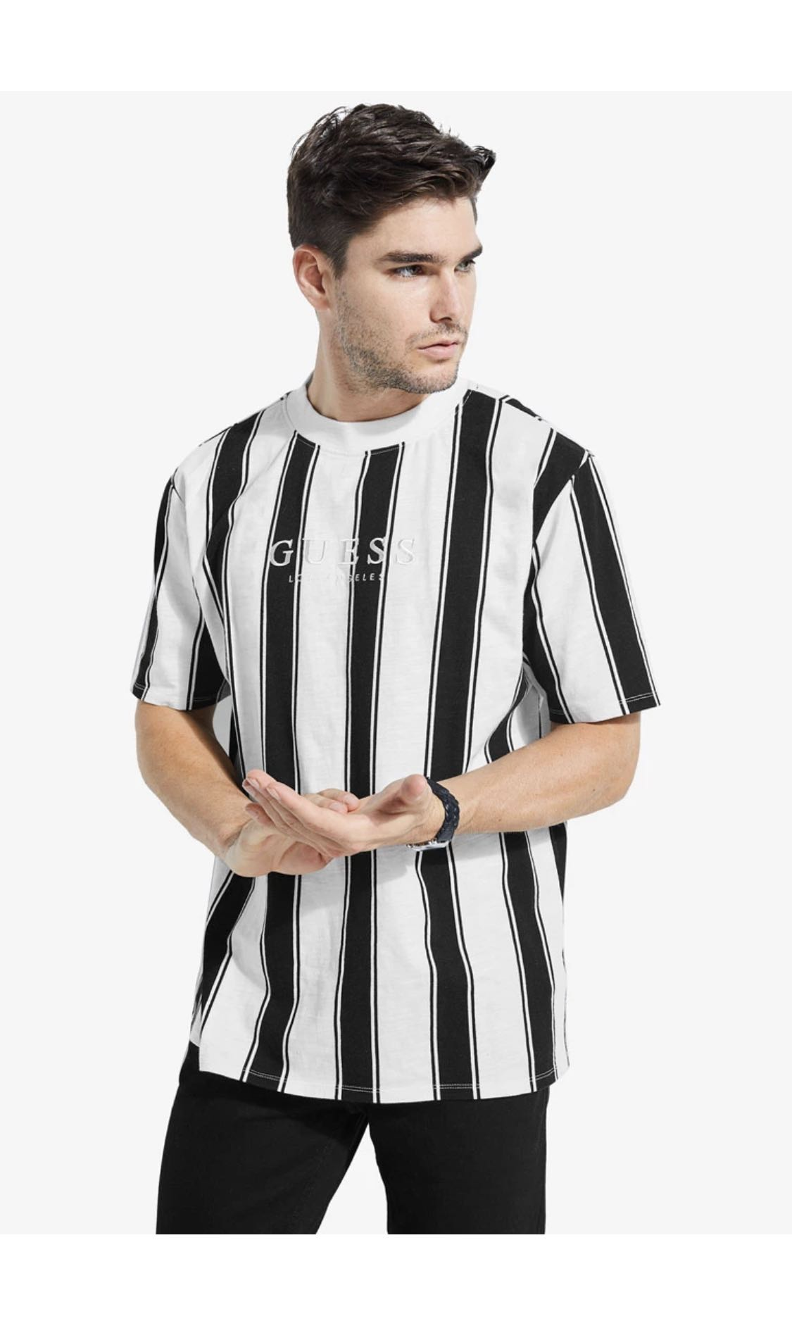84b5ba4c4201 Guess walden stripes tee/tshirt, Men's Fashion, Clothes, Tops on Carousell