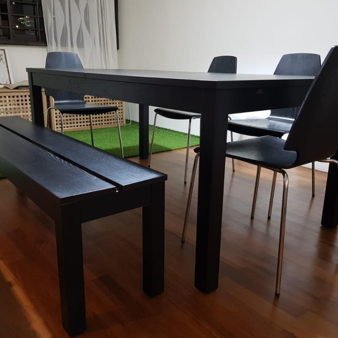 Ikea Bjursta Extendable Large Dining Set Cheap Furniture Tables Chairs On Carousell