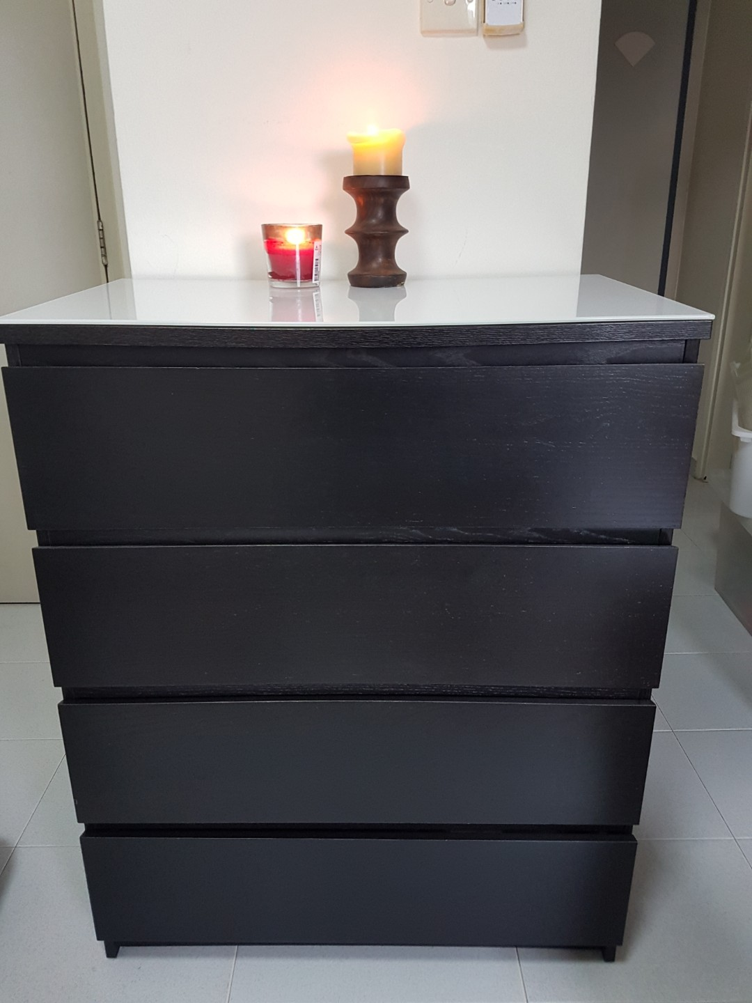 Ikea Malm Chest 4 Drawers With Glass Top, Furniture, Shelves U0026 Drawers On  Carousell