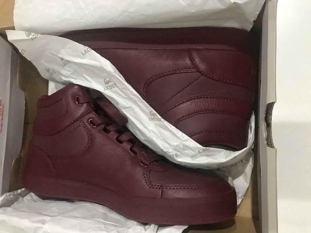 cd0ef6f2ec Lacoste Live Hi Top Sneakers - Burgundy Leather UK 7 (US8)
