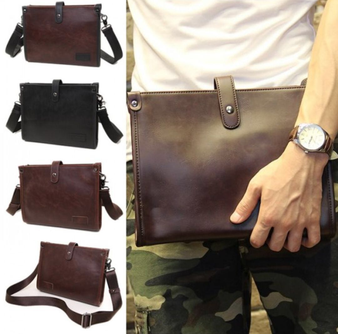 MEN CARRYING LEATHER WALLET CLUTCH BAG AND SLING BAG, Men s Fashion ... 23fabe8900