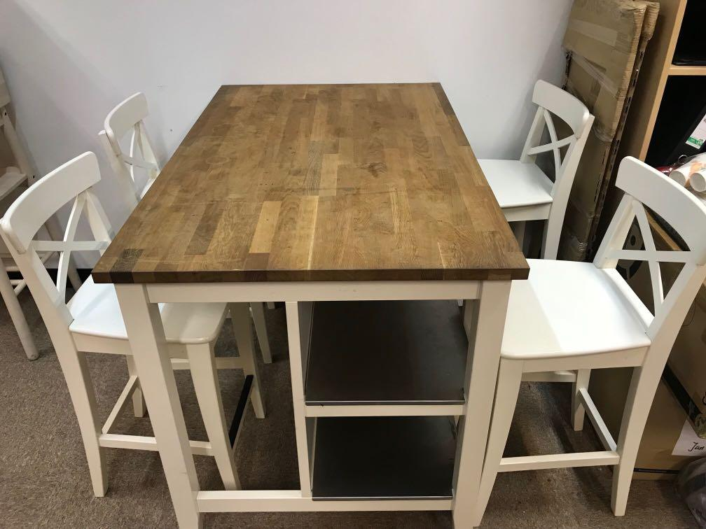 Ikea Dining Set High Table 4 Chairs