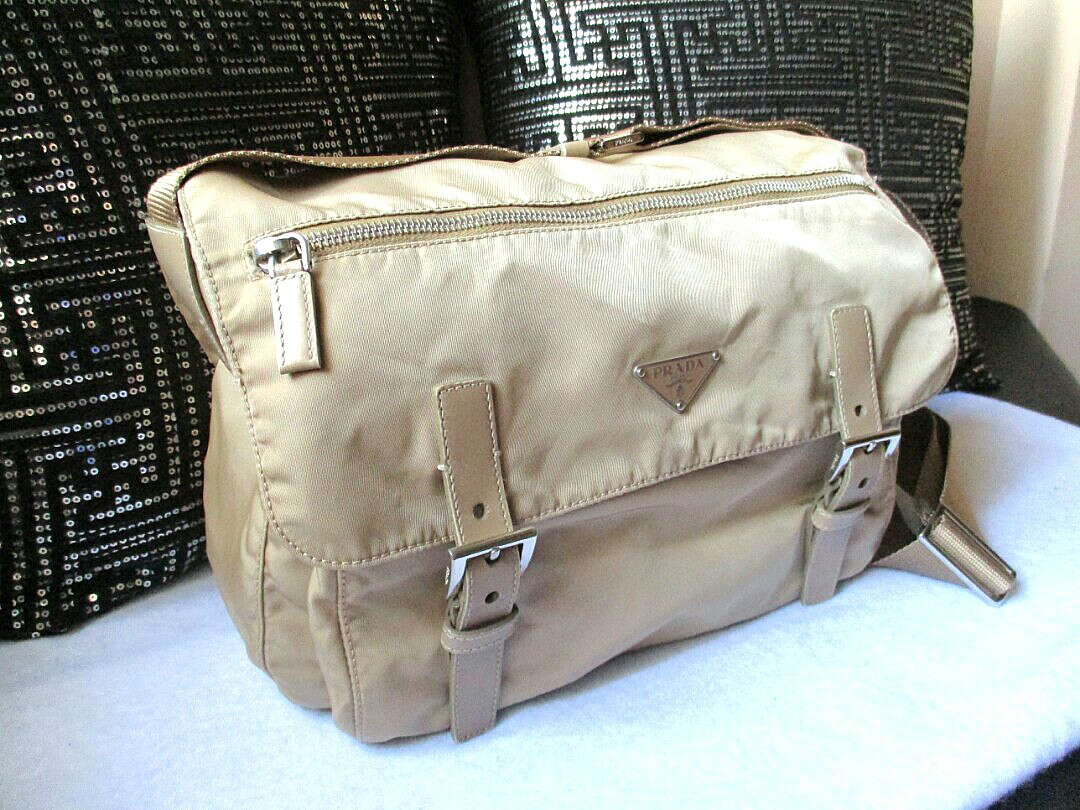 bc31d17276bb NEW Listing*PRADA Canvas Beige Messenger Sling Bag AUTHENTIC, Luxury ...
