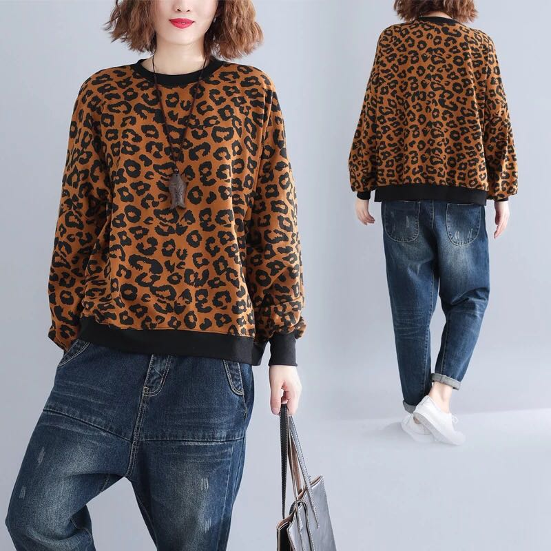 009e271575a59 Plus Size Winter Leopard Sweater Women s Turtleneck Sweater and Plush Long  Sleeve Top
