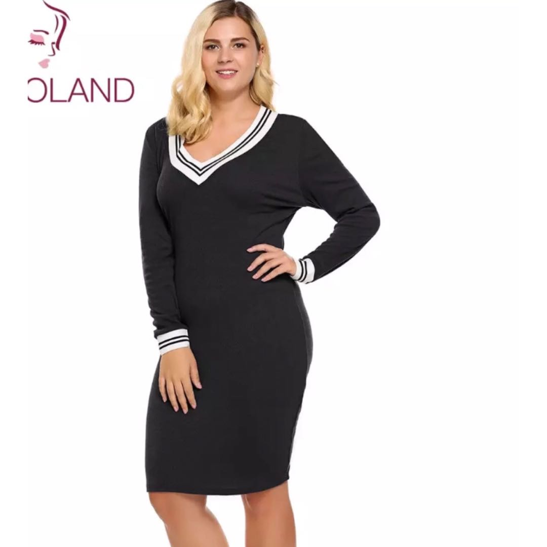 (PO) XL-5XL Women s Sweater Dress Plus Size Deep V-Neck Long Sleeve Bodycon  Pencil Knitted Pullover Autumn 12a421217
