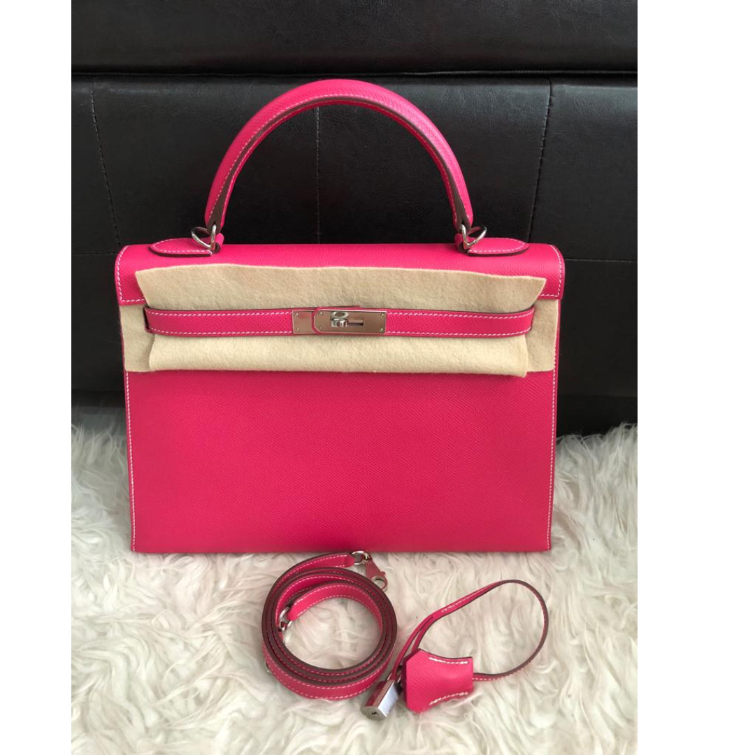 0db00d3eb13c preloved) Hermes Kelly Sellier 32 Rose Tyrien Epsom Palladium ...