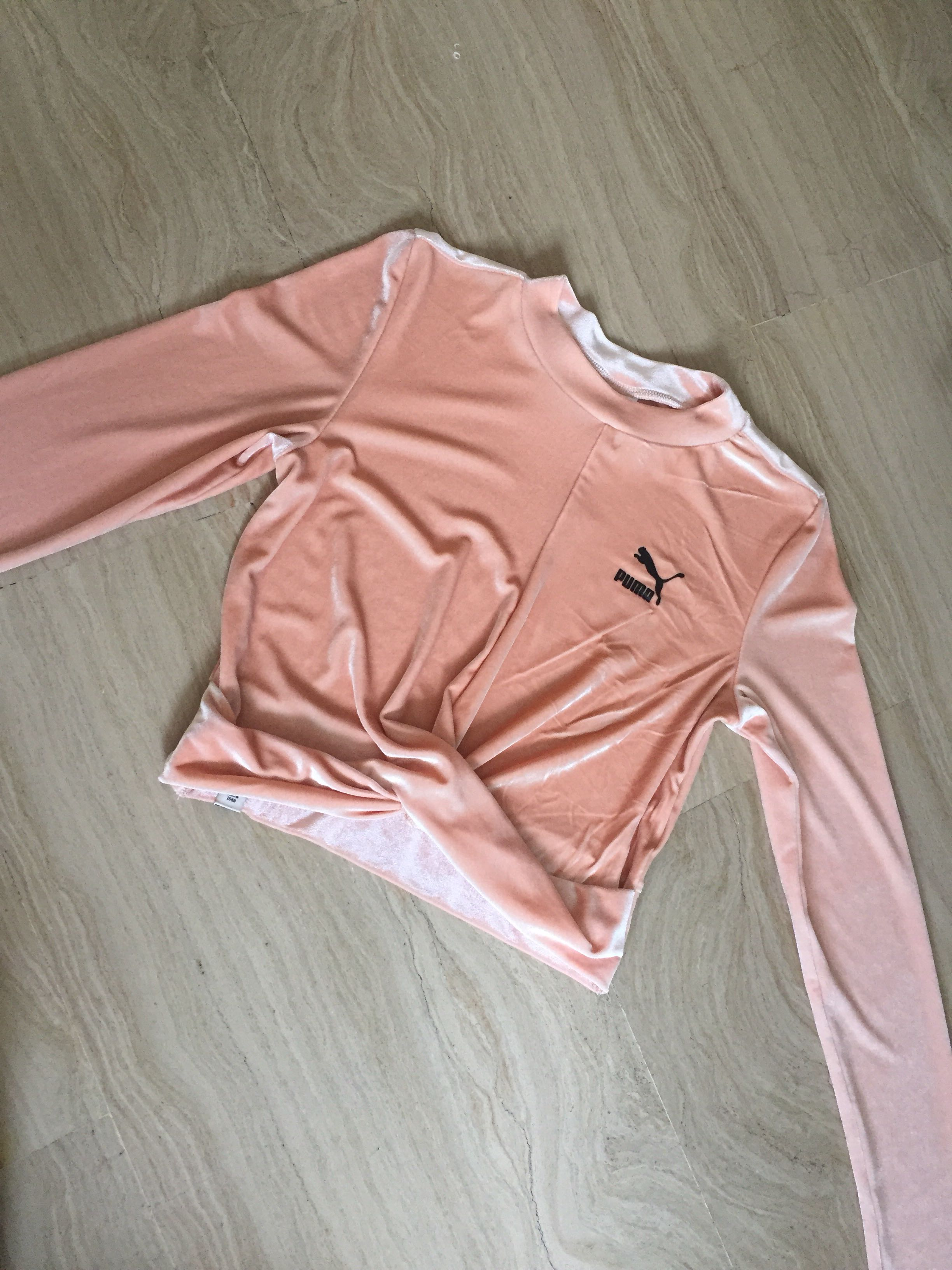 c5ff9dc6753 Puma velvet long sleeve crop top, Women's Fashion, Clothes, Tops on  Carousell
