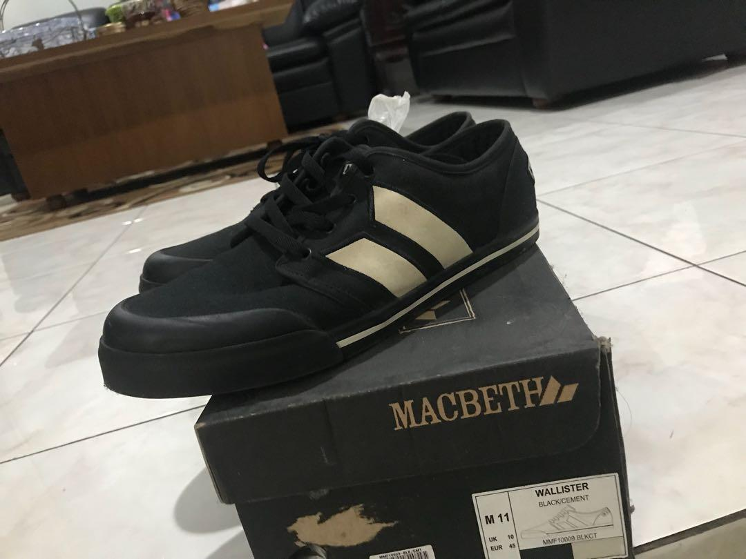 sepatu macbeth wallister black cement size 11/45 like new rare