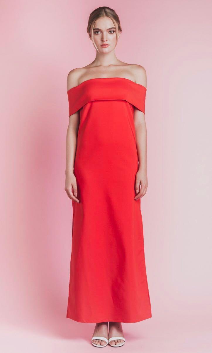 9acd28b43c48f Soigne The Label - Off Shoulder Maxi Dress In Red Orange