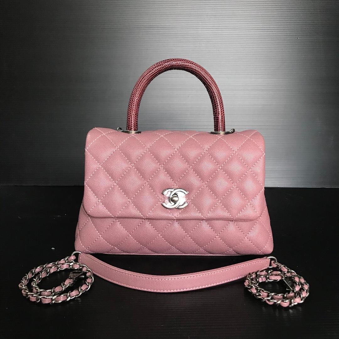 63154284b42105 Chanel Coco Handle Sakura Pink with Lizzard Handle!, Luxury, Bags &  Wallets, Handbags on Carousell