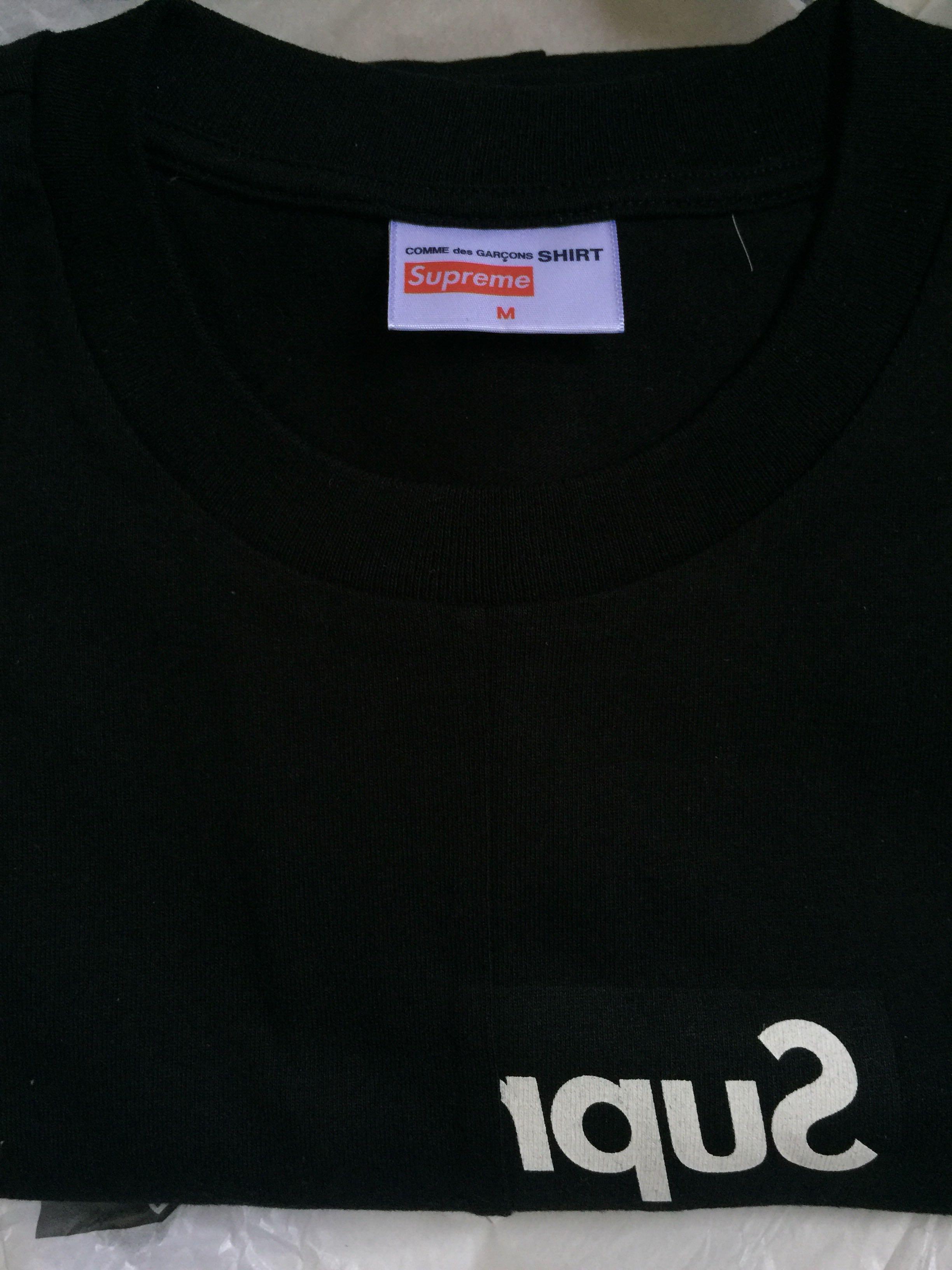 eca3a6858c7e Supreme x CDG Split Box Logo Tee Black, Men's Fashion, Clothes, Tops on  Carousell