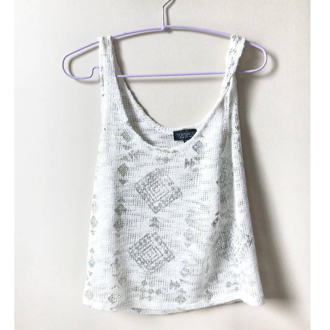 Topshop Size 4 / Small White Silver Loose Tank Top