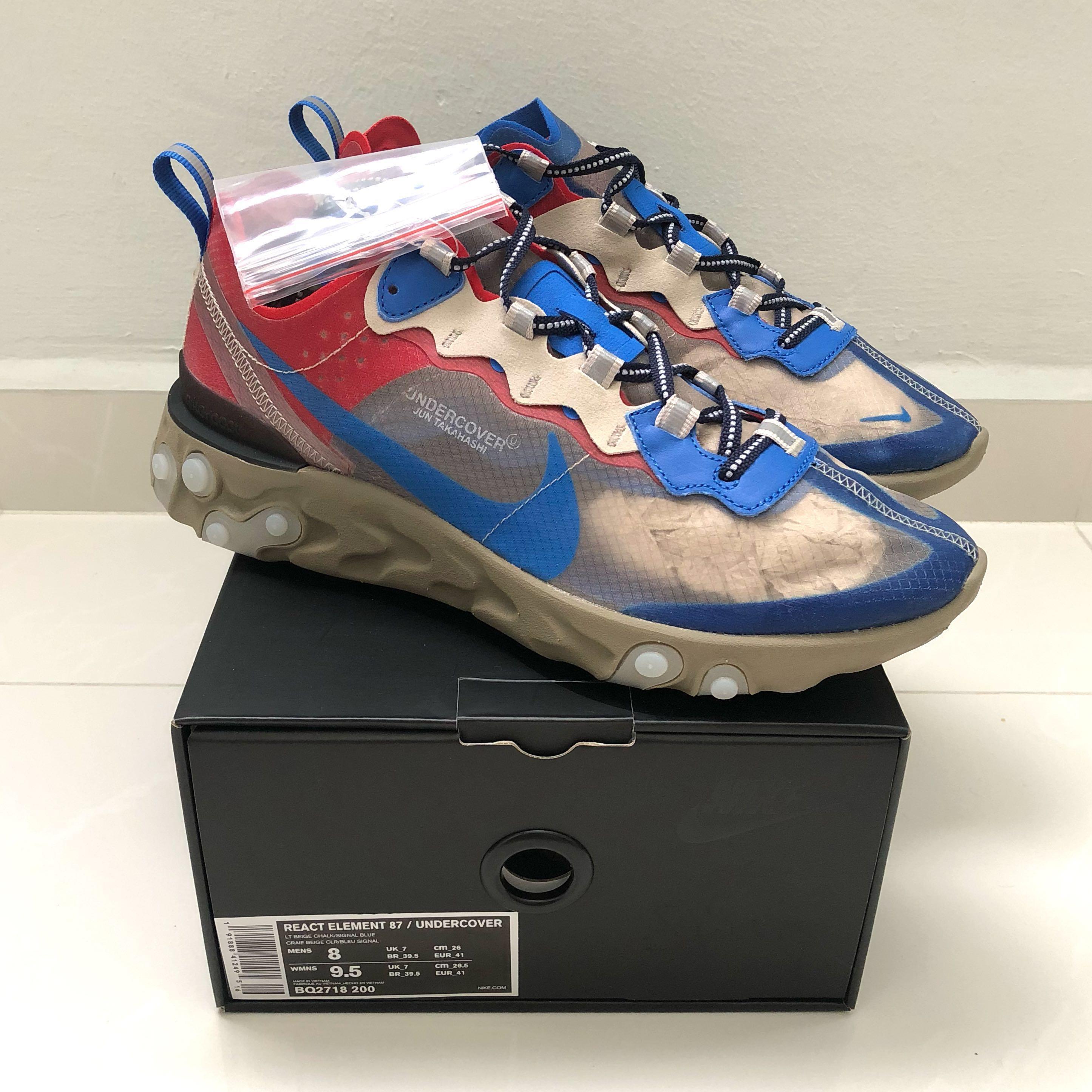 buy popular 49e4f fd8e5 Undercover x Nike React Element 87  Light Beige Chalk , Men s Fashion,  Footwear, Sneakers on Carousell