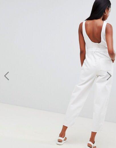 89f0dbdae833 White Denim Zip Front Jumpsuit