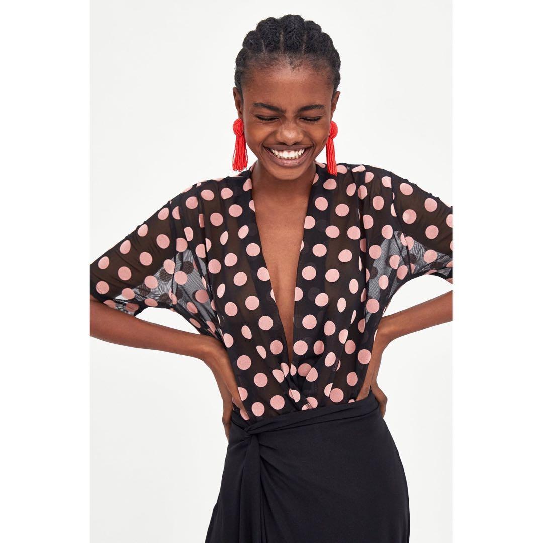 ef31475a ZARA semi sheer polka dot v neck tshirt, Women's Fashion, Clothes, Dresses  & Skirts on Carousell