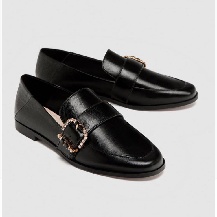 ZARA Shiny Leather Loafers with Buckle