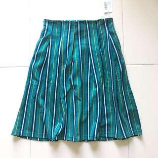 Instock! - BNIP Vintage Colorblock Contrast Stripe Pleated Skirt in Seafoam Green x White x Navy Blue