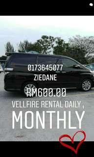 vellfire for rental