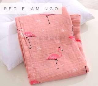Bubu Bambam Red Flamingo Bamboo Cotton Baby Swaddle