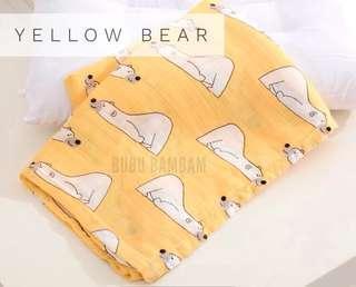 Bubu Bambam Yellow Bear Bamboo Cotton Baby Swaddle