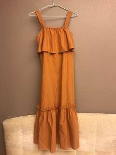 🚚 正韓 橘色荷葉魚尾長洋裝