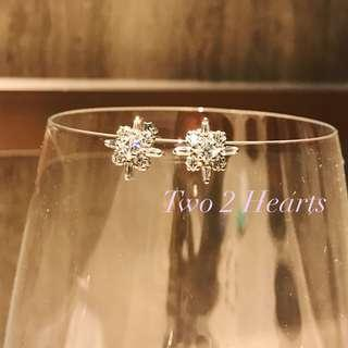 🌟✨925鈍銀雪花形鋯石典雅耳環😘😍聖誕優惠$150