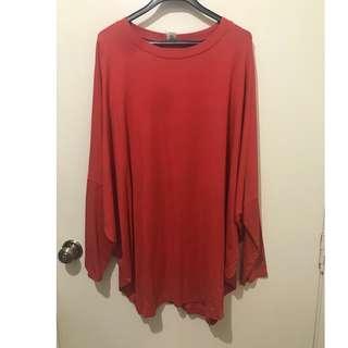 Cole Vintage Red Orange Batwing Dress