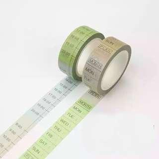 🚚 [In stock] Washi Tape Day and Time for Journal and planner