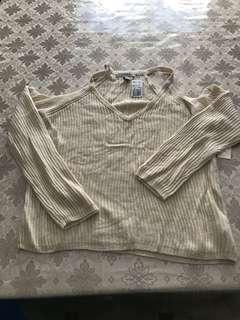 Knit off the shoulder / cold shoulder sweater BNWT size XL cream
