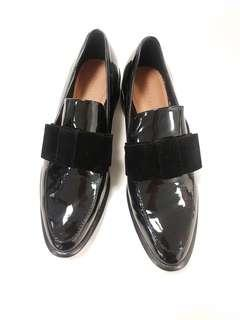 Zara patent loafers with velvet bow, size 7.5 / 38
