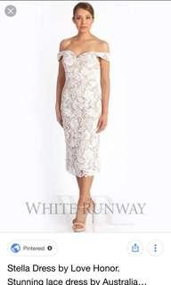 Love Honour Stella Dress Ivory/Nude Size 10 NEW