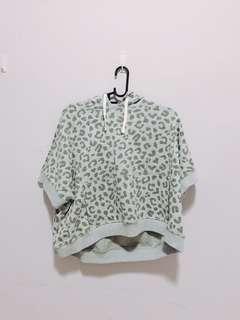 leopard print grey crop hoodie top