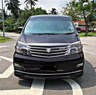 SAMBUNG BAYAR/CONTINUE LOAN  TOYOTA ALPHARD 2.4 AUTO YEAR 2008/2012 MONTHLY RM 1780 BALANCE 3 YEARS ROADTAX VALID 8 SEATER POWER DOOR REVERSE CAMERA NEW PAINT TIPTOP CONDITION  DP KLIK wasap.my/60133524312/alphard