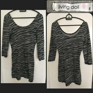 6-8 Zebra Bodycon Mini Long Sleeve Dress