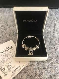 PANDORA潘朵拉 15cm心型硬環 + 5顆珠