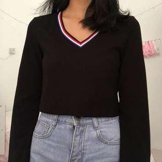 Something Borrowed Zalora Black Long Sleeve Crop Top
