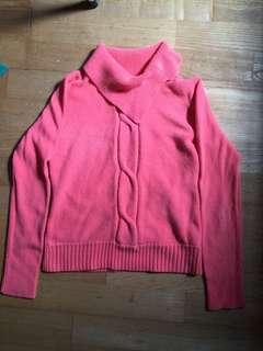 🚚 素色橘粉紅長袖毛衣