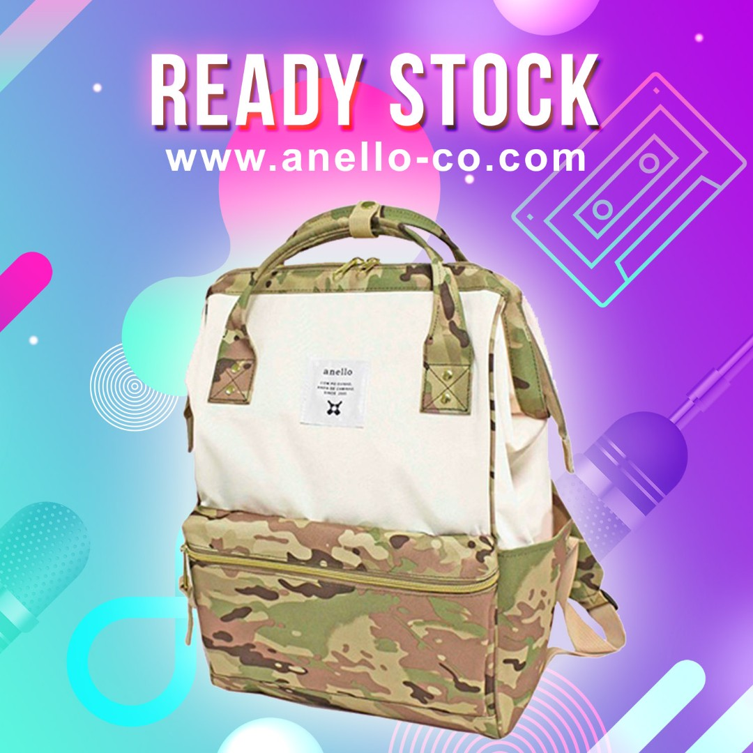 323b5ca875a 100% Authentic】 Anello Polyester Canvas Mouthpiece Backpack (White ...