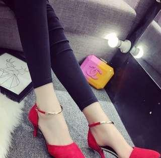 Red Pointed Shoe High Heels Ankle Strap