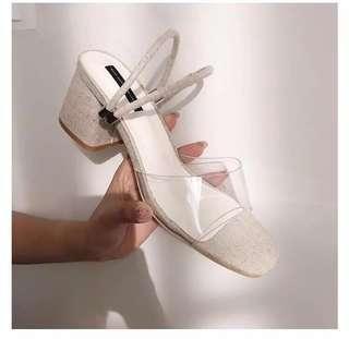 Cream Green Linen & Vinyl Transparent Chunky Heels Sandals