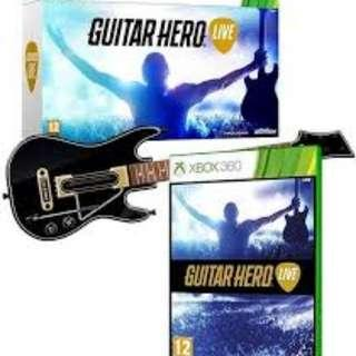BRAND NEW SEALED Microsoft XBOX 360 XBOX360 X BOX Guitar Hero Live Guitar Controller WITH VIDEO GAME CD Gaming Console