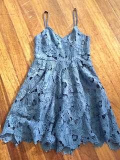 Blue Floral Laced Dress