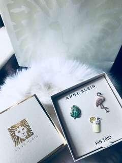 Anne Klein Gold-Tone 3-Pc. Set Pavé Tropical Pins Brand New In Box