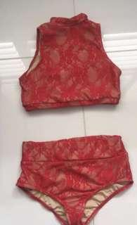 Dance Costume: Red and Nude Lace Crop top and shorts/briefs set