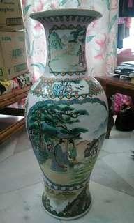 Tall vintage painting vase