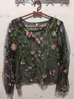 Rainforest floral sheer top baju transparant