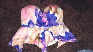 Floral strapless top size 10