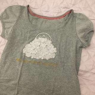 Cute Grey Foral 3D Top